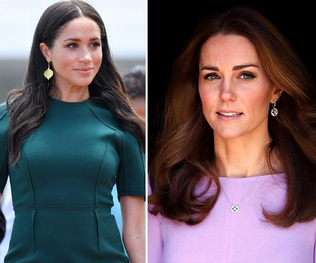 """""""Meghan is incredibly jealous of Harry and Kate's bond,"""" our source says. *(Images: Getty)*"""