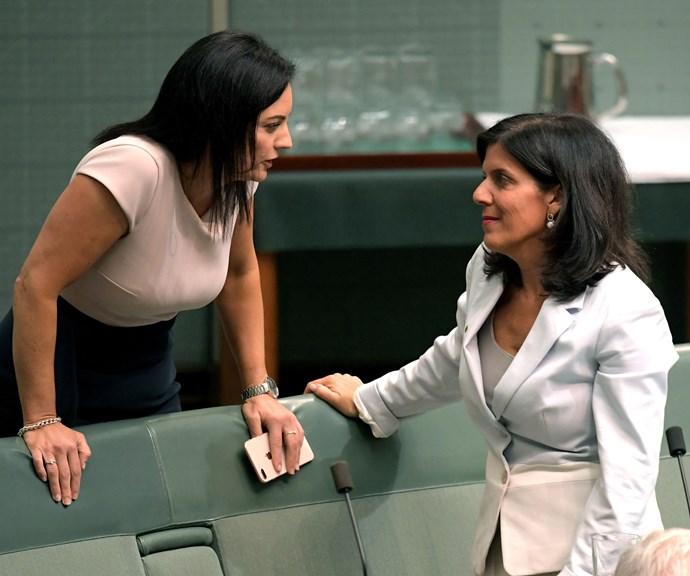 Julia Banks and fellow MP Emma Husar. *(Image: Getty)*