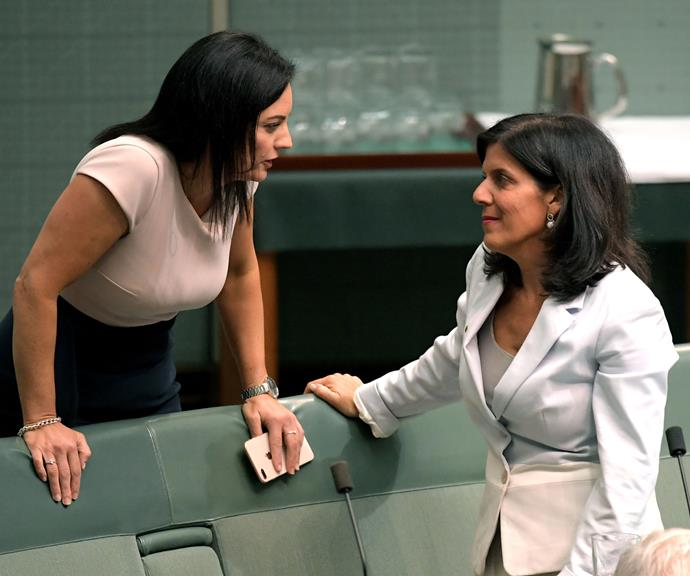 Julia Banks and fellow MP Emma Husar. *(Image: Getty)*