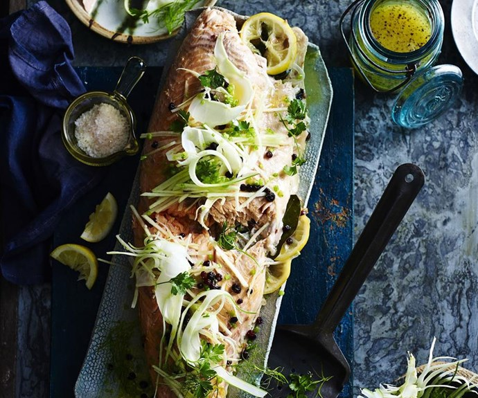 "**Roast salmon with fennel and apple salad** <br><br> The currants and fresh basil really make this recipe sing.  <br><br> See the full Australian Women's Weekly recipe [here](https://www.womensweeklyfood.com.au/recipes/roast-salmon-with-fennel-and-apple-salad-5689|target=""_blank"")."