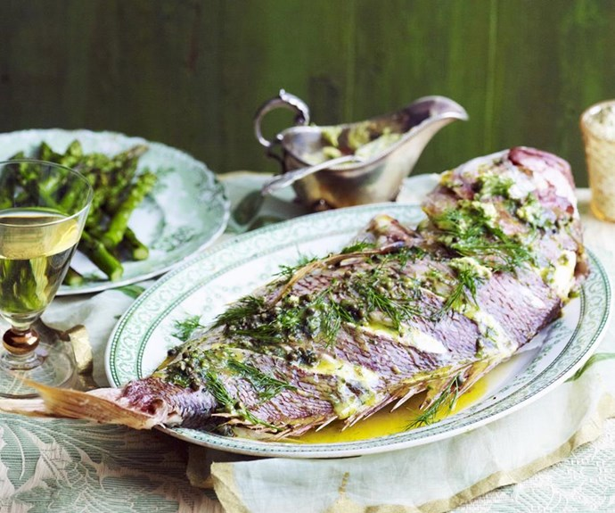 "**Baked snapper with peppercorn and dill butter** <br><br> Served with grilled asparagus, this stunning whole baked snapper is brimming with zesty flavours. <br><br> See the full Australian Women's Weekly recipe [here.](https://www.womensweeklyfood.com.au/recipes/baked-snapper-with-peppercorn-and-dill-butter-13791|target=""_blank"")"