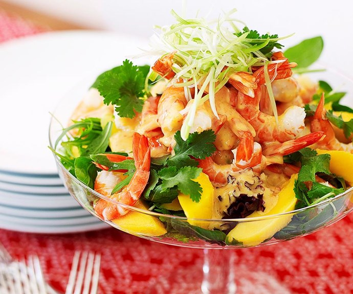 "**Prawn and mango salad** <br><br> This gorgeous salad covers all the flavour bases with sweet mango, juicy prawns and a cheeky kick of heat from the chilli and mustard. And with all those vibrant colours, it's a feast for the eyes as well as the tastebuds. <br><br> See the full *Australian Women's Weekly* recipe [here.](https://www.womensweeklyfood.com.au/recipes/prawn-and-mango-salad-15838|target=""_blank"")"