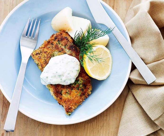 "**Herb-crumbed fish fillets** <br><br> This recipe is packed full of brilliant flavours and textures for a fun way to get your family to eat more seafood. Serve with tartare sauce that perfectly complements the crunchy coating. <br><br> See the full *Australian Women's Weekly* recipe [here.](https://www.womensweeklyfood.com.au/recipes/herb-crumbed-fish-fillets-13720|target=""_blank"")"