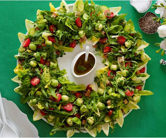 "**Christmas wreath salad** <br><br> This makes a fantastic centrepiece for the table, but it's really just lettuce and tomatoes given a bit of a makeover. <br><br> See the full *Australian Women's Weekly* recipe [here.](https://www.womensweeklyfood.com.au/recipes/christmas-wreath-salad-7436|target=""_blank"")"