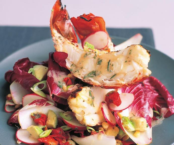 "**Char-grilled lobster tail salad** <br><br> Treat your guests to this indulgent char-grilled lobster tail salad. <br><br> See the full *Australian Women's Weekly* recipe [here.](https://www.womensweeklyfood.com.au/recipes/char-grilled-lobster-tail-salad-13517|target=""_blank"")"