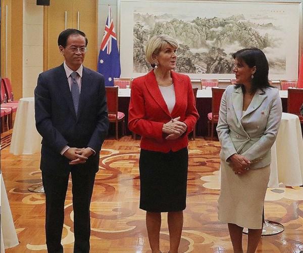 Julia pictured with Chinese Ambassador Cheng Jingye and Julie Bishop. *(Image: Instagram @juliabankschisholm)*