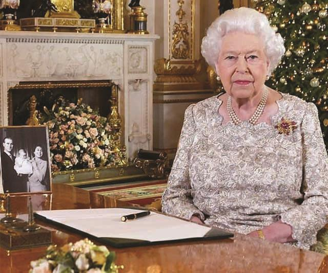 The Queen delivers her 2018 Christmas message from here white drawing room. *Source Instagram*