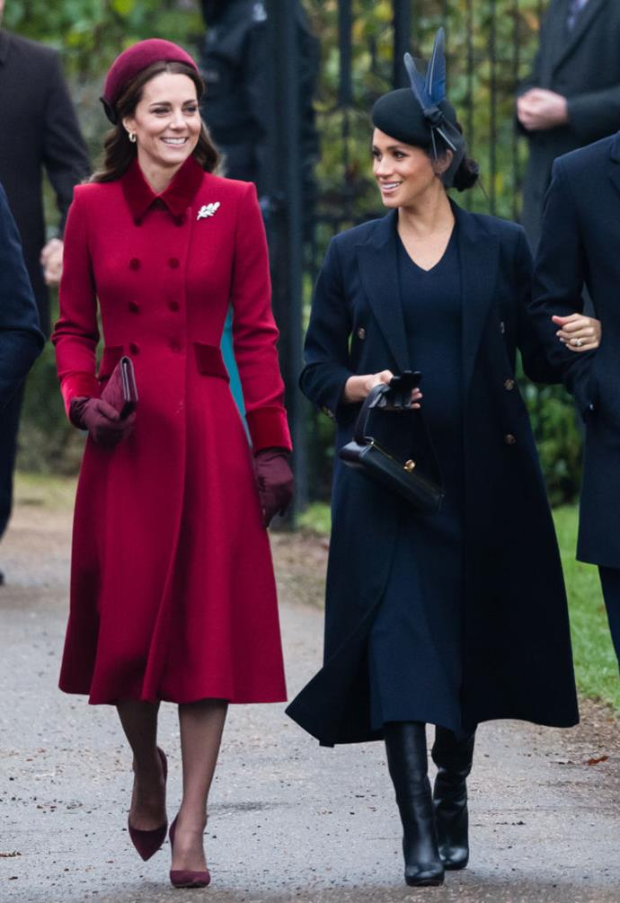 Duchess Kate and Duchess Meghan on Christmas Day 2018. *(Source: Getty)*
