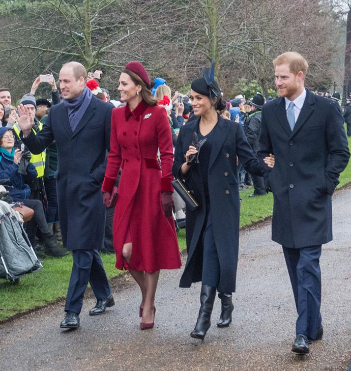 Prince William, Duchess Kate, Duchess Meghan and Prince Harry smiling at onlookers on Christmas Day. *(Source: Getty)*