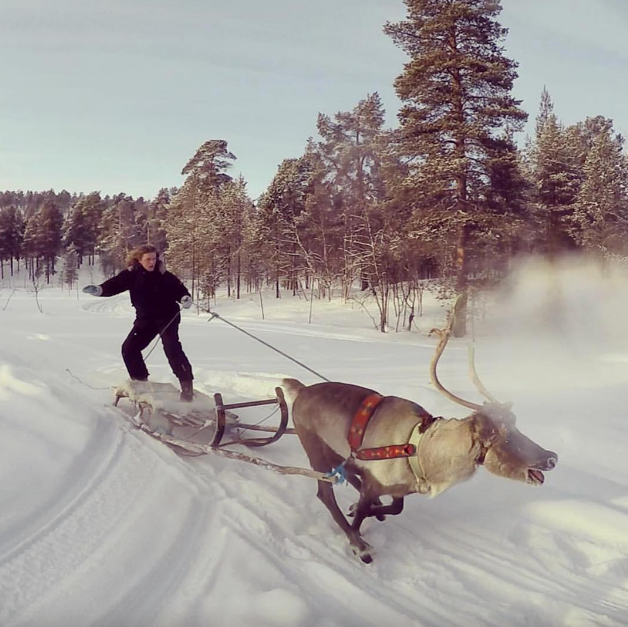 """Hold on tight Honey Badger! This year's *Bachelor* Nick Cummins swapped the surf for snow with """"Rudolph's nephew."""" *(Image: Instagram @nickbadger)*"""