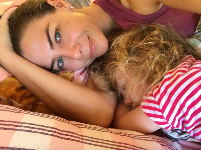 Wake up Mae! It's not often that the kids are asleep and the grown ups are awake on Christmas morning, as Kate Ritchie proved. *(Instagram @katritchieofficial)*