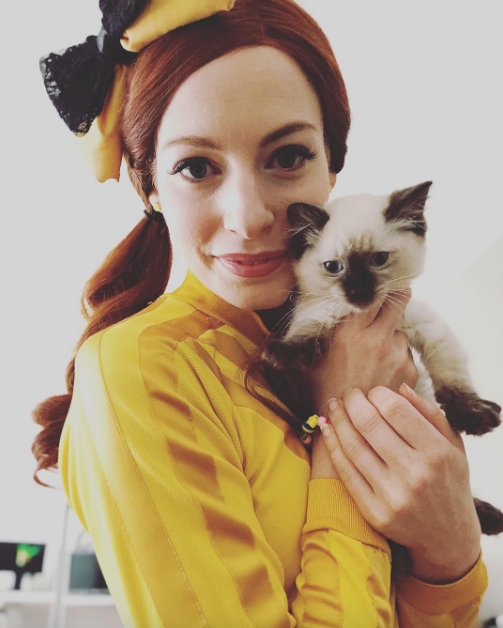 Cute! Yellow Wiggle Emma Watkins received a very cute prezzie this year. *(Image: Instagram @emma_wiggle)*