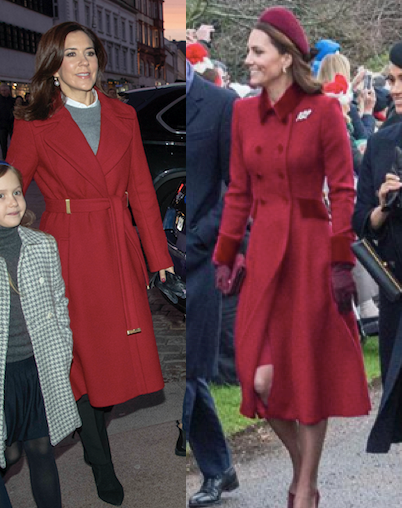 Princess Mary and Duchess Catherine looked gorgeous in shades of red on Christmas Day. *(Images: Mega (L), Getty (R))*