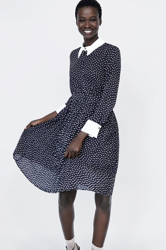 "We're struggling to spot the different between [this Zara number](https://www.zara.com/us/en/polka-dot-dress-p01165161.html?v1=7145651&v2=1074622|target=""_blank""|rel=""nofollow"") and Kate's pricier Alessandra Rich version! *(Image: Zara)*"