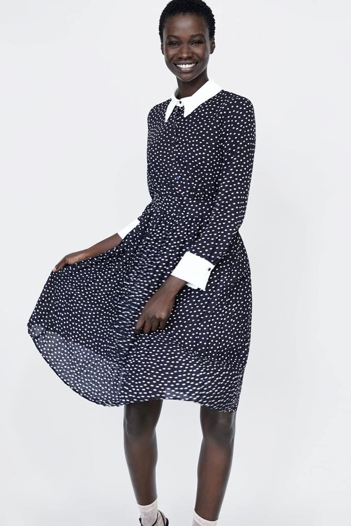 "We're struggling to spot the different between [this Zara number](https://www.zara.com/us/en/polka-dot-dress-p01165161.html?v1=7145651&v2=1074622|target=""_blank""