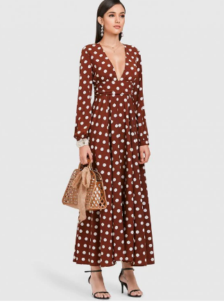 """This Zaful maxi dress is classy, and stylish - and below $40! [Available online](https://www.zaful.com/zaful-polka-dot-plunge-a-line-dress-p_565874.html