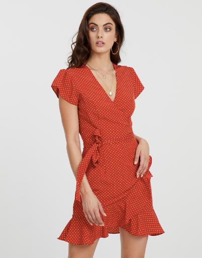 """A fire-engine red polka dot dress will easily get you noticed in a New Year's Eve crowd! This ATMOS&HERE dress is available via [The Iconic](https://www.theiconic.co.nz/iconic-exclusive-polka-dot-wrap-dress-695311.html