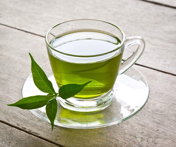 **Green Tea** <br><br> Green tea contains almost no calories and is also high in catechins, which may assist weight loss. No wonder it's a hit with celebrities like Jennifer Aniston, who drinks green tea 'throughout the day'. *(Source: Getty)*