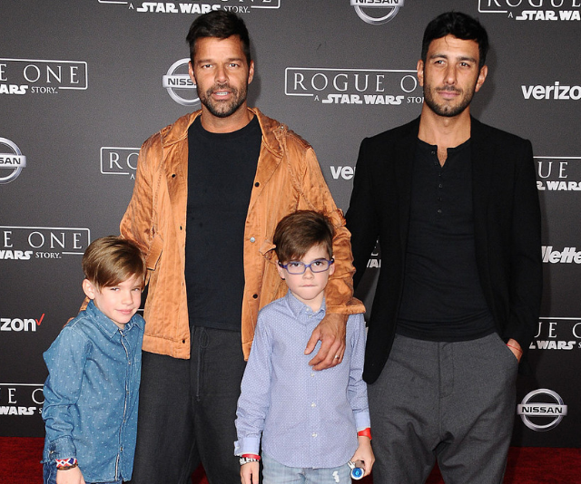 Ricky Martin and Jwan with sons Matteo and Valentino Martin in Hollywood in 2016. *(Image: Getty)*