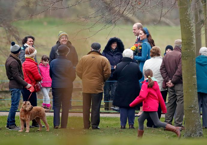 Crowds gathered to catch a glimpse of the royal couple for their first public appearance of 2019. *(Image: Getty)*