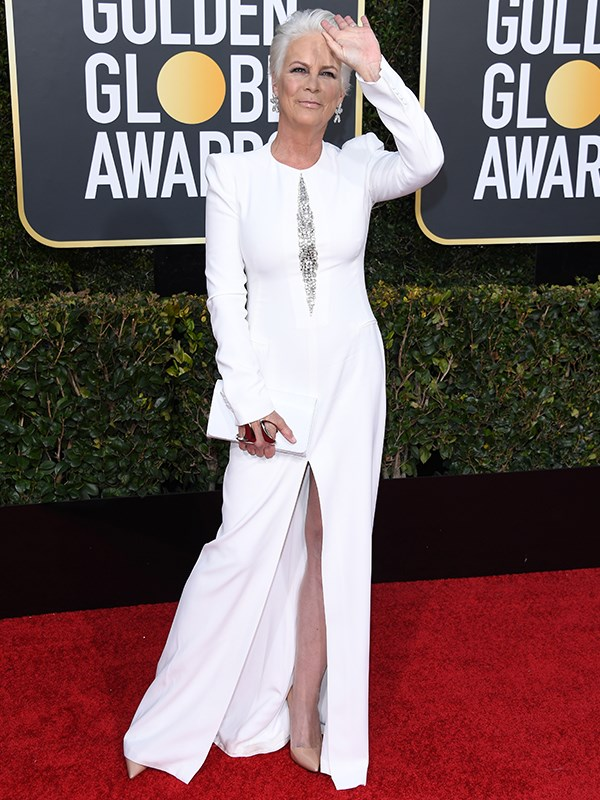 *Halloween* star Jamie Lee Curtis is a vision in white from head to toe!