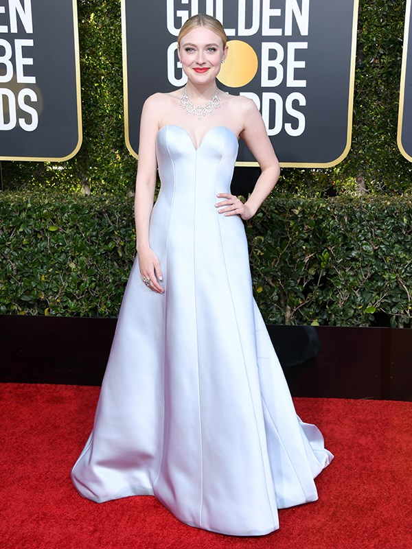 Dakota Fanning is a modern-day Cinderella in pastel purple.