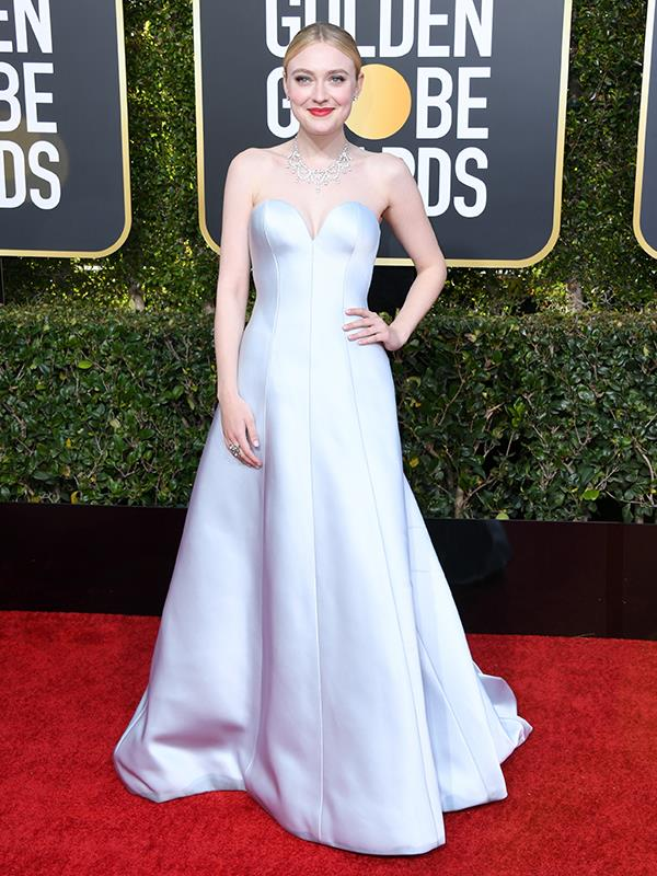 Actress Dakota Fanning is a modern-day Cinderella in this ice-blue dress.