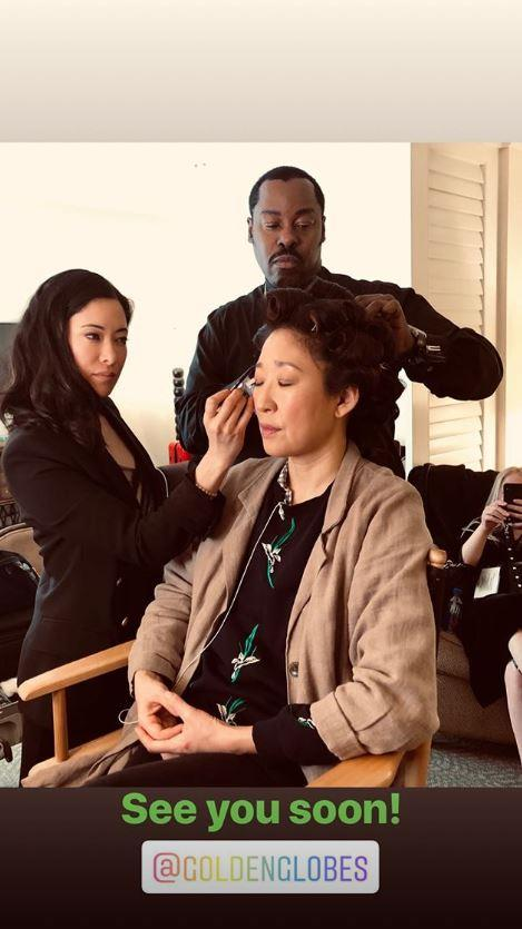 Sandra Oh gets her curls tended to by her glam team. *(Image: Instagram)