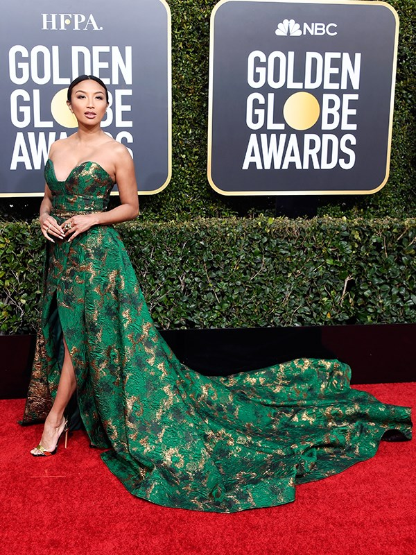 US TV host Jeannie Mai's regal emerald and gold look would make even *Mary Queen of Scots* jealous!