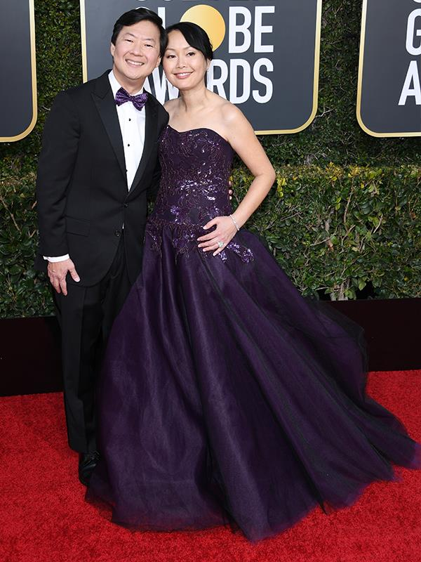 It's a matching pair: Ken Jeong and his wife Tran are matching in a gorgeous amethyst jewel tone.