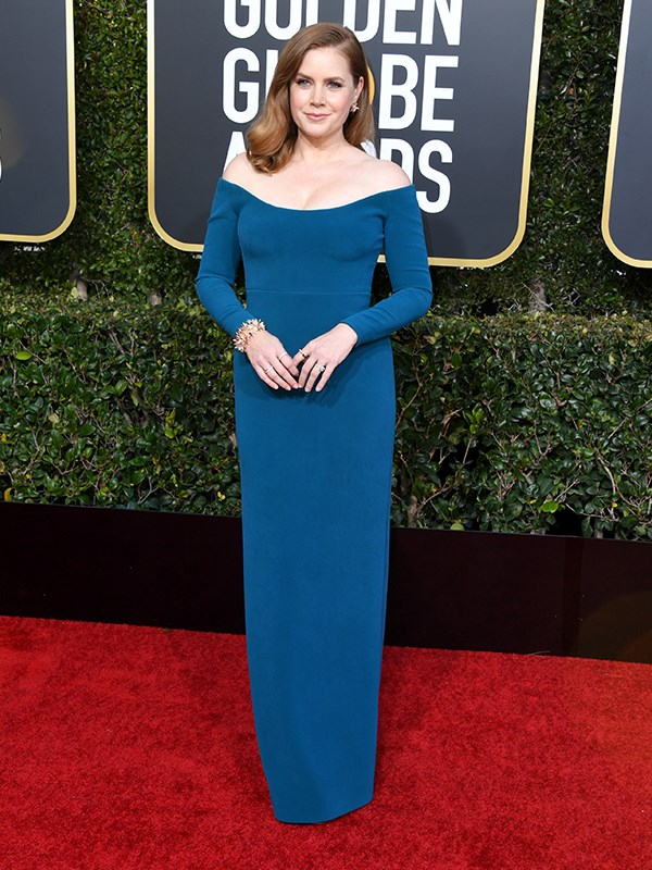 Amy Adams, who is nominated for Best Performance by an Actress in a Supporting Role for *Vice*, was a vision in blue.