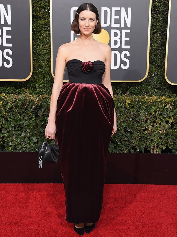 *Outlander* star Catriona Balfe, in a strapless ruby velvet creation, is nominated for the coveted Best TV Drama Actress.