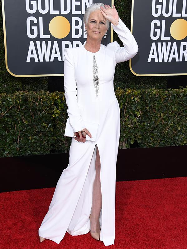 Jamie Lee Curtis stunned fans as she stepped out on the Golden Globes red carpet on Monday. *(Image: Getty)*