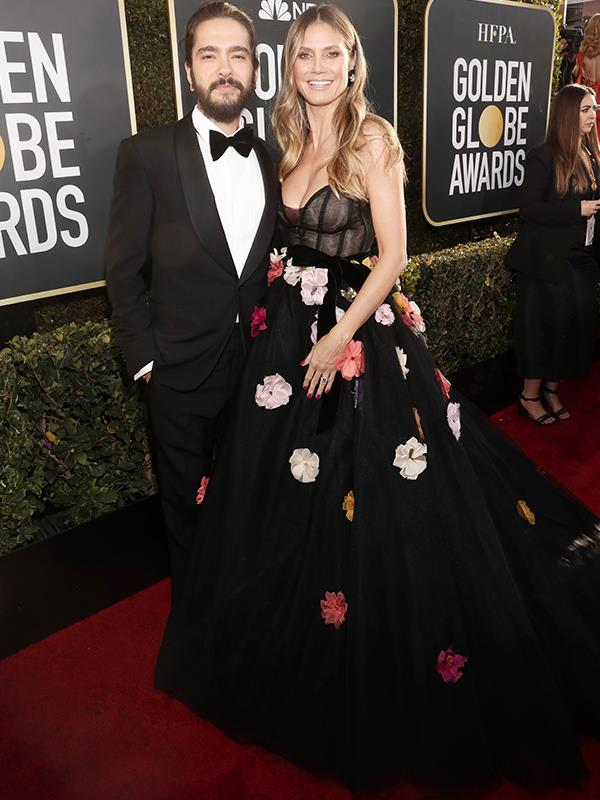 Newly engaged couple, Heidi Klum and Tom Kaulitz have made their awards season red carpet debut - bringing the Lincraft flower aisle with them...