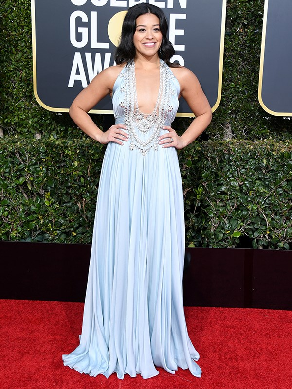 *Jane the Virgin* star, Gina Rodriguez, opted for a low-cut beaded encrusted number, showing off her toned arms.