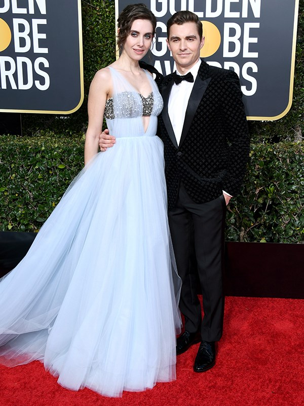 Netflix *Glow* actress Alison Brie wore a stunning baby blue custom Vera Wang gown alongside husband, Dave Franco.