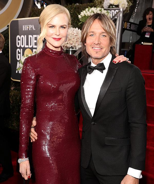 Nicole opted for a figure-hugging maroon-coloured gown, while Keith looked dapper in a tux.