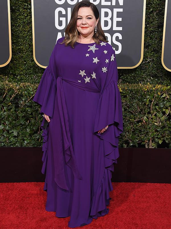 Everyone's favourite comedienne, Melissa McCarthy, has stars in her eyes...and on her dress, at the 76th Golden Globes.