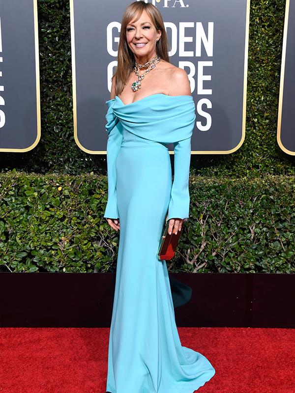 We are loving age-defying actress Alison Janney's strapless teal frock.