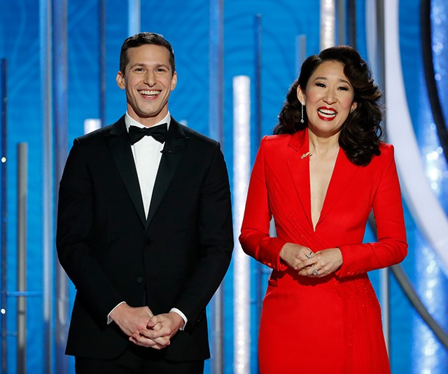 Sandra Oh hosted the 76th annual Golden Globes with Andy Samberg. *(Image: Getty Images)*