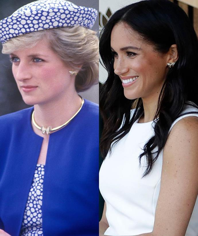 Princess Diana's much loved butterfly earrings have been passed onto Meghan. *(Images: Getty)*