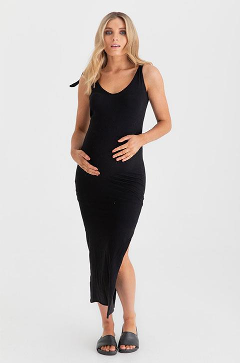 """Everyone needs a little black maternity dress and this [classic yet cool creation by Legoe Heritage](https://legoeheritage.com/products/coachella-maternity-and-nursing-dress