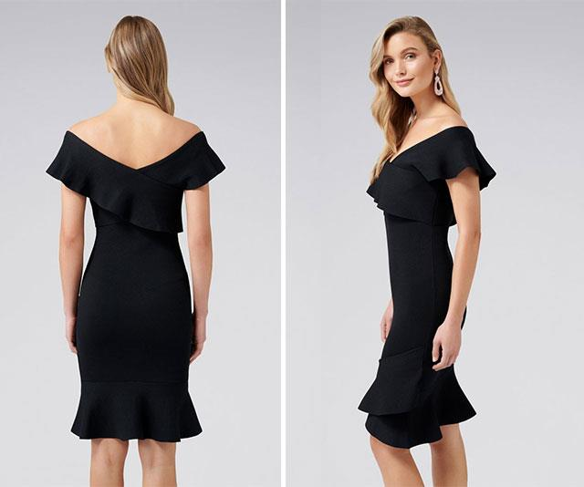 """Does anything instil the fear of god in a pregnant woman more than the words black tie wedding? Since falling pregnant, me and the bump have attended a total of *four* weddings (no funerals, touch wood) and it's taken A LOT of forward planning to nail the perfect wedding frock. Brands like Kookai and Bardot are full of divine stretchy dresses but my best discovery so far was this simple black off-the-shoulder creation by [Forever New!](https://www.forevernew.com.au/amber-frill-dress-255322