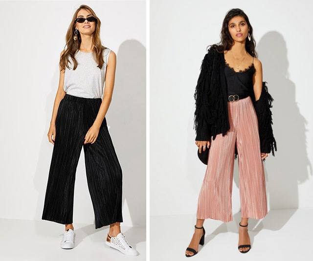 "One of the trickiest stages to dress for is, surprisingly, your first trimester. You're still trying to conceal any hint of a tiny belly but suddenly your jeans, skirts and trousers don't fit. I lived in these [elastic-waisted Sportsgirl crinkle pants,](https://www.sportsgirl.com.au/clothing/pants/crinkle-crop-pants-dusty-rose-1|target=""_blank""