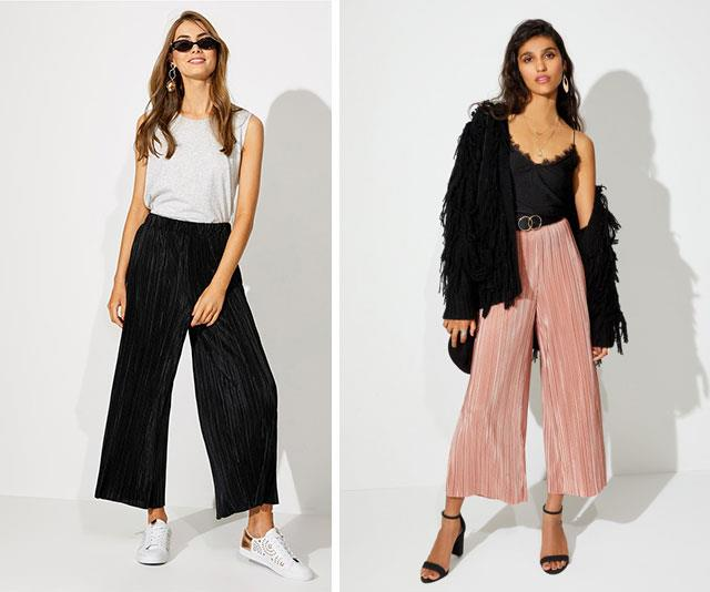 """One of the trickiest stages to dress for is, surprisingly, your first trimester. You're still trying to conceal any hint of a tiny belly but suddenly your jeans, skirts and trousers don't fit. I lived in these [elastic-waisted Sportsgirl crinkle pants,](https://www.sportsgirl.com.au/clothing/pants/crinkle-crop-pants-dusty-rose-1