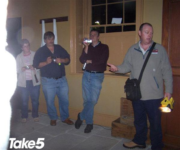 Me (front) leading a ghost tour.