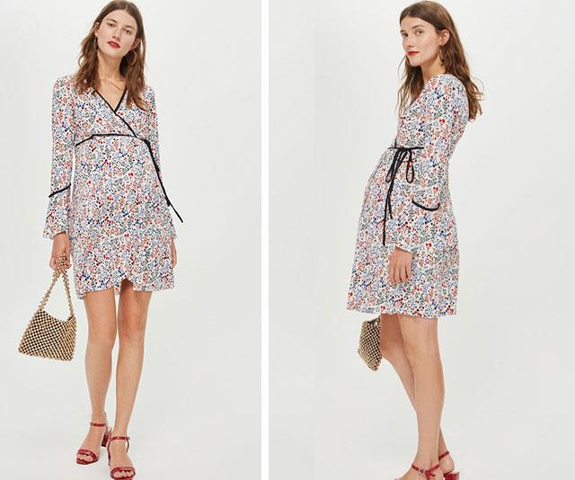 """Dressing your bump should be fun and expressive! Gone are the days of the eighties oversized moo moos and thank god for that. Showcase your gorgeous tum in this bright, [floral wrap-dress from Topshop Maternity](https://www.theiconic.com.au/wrap-mini-dress-728525.html
