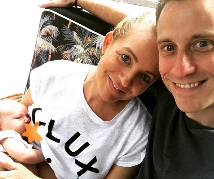 Carrie Bickmore's latest Instagram post, with partner Chris Walker and new daughter Adelaide. *(Image: Instagram)*