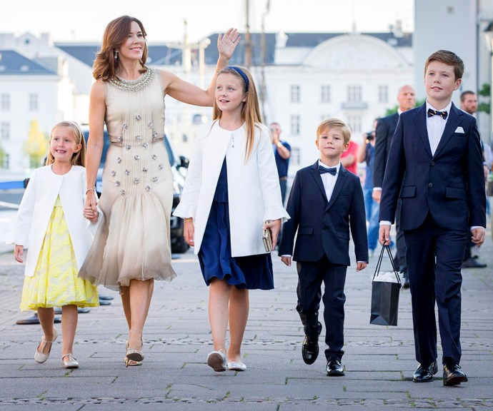Crown Princess Mary with her four kids. *(Image: Getty)*