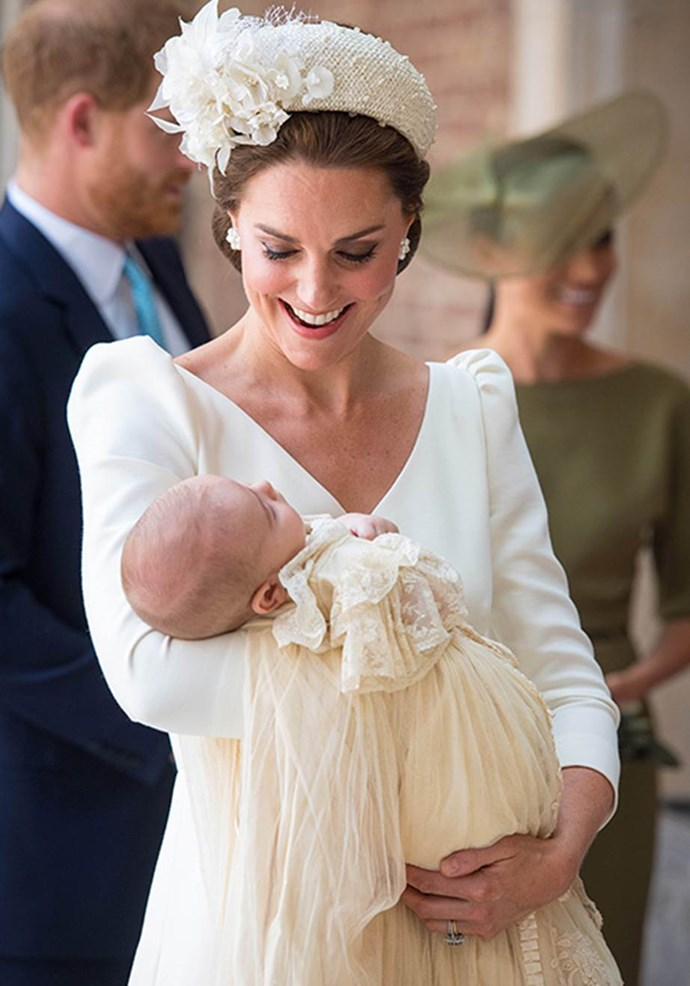 """**Pure joy!** Catherine couldn't have looked more in love with her son [at his christening.](https://www.nowtolove.com.au/royals/british-royal-family/prince-louis-baptism-49654